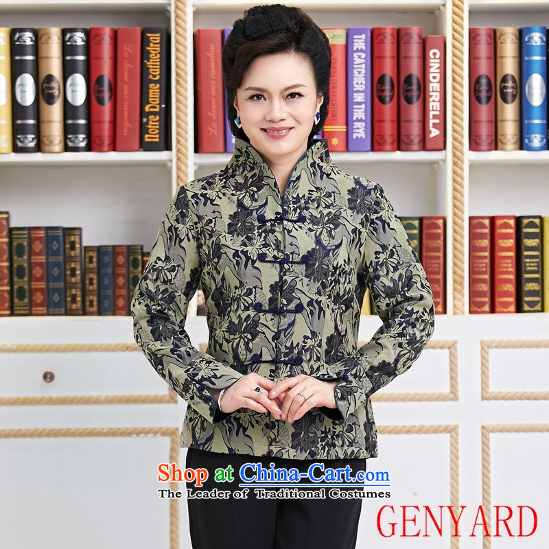 Replace the spring and autumn in GENYARD new president of ethnic Chinese Jacket coat Tang dynasty improved Stylish spring and autumn he had lent 1.087燲XXXL blue