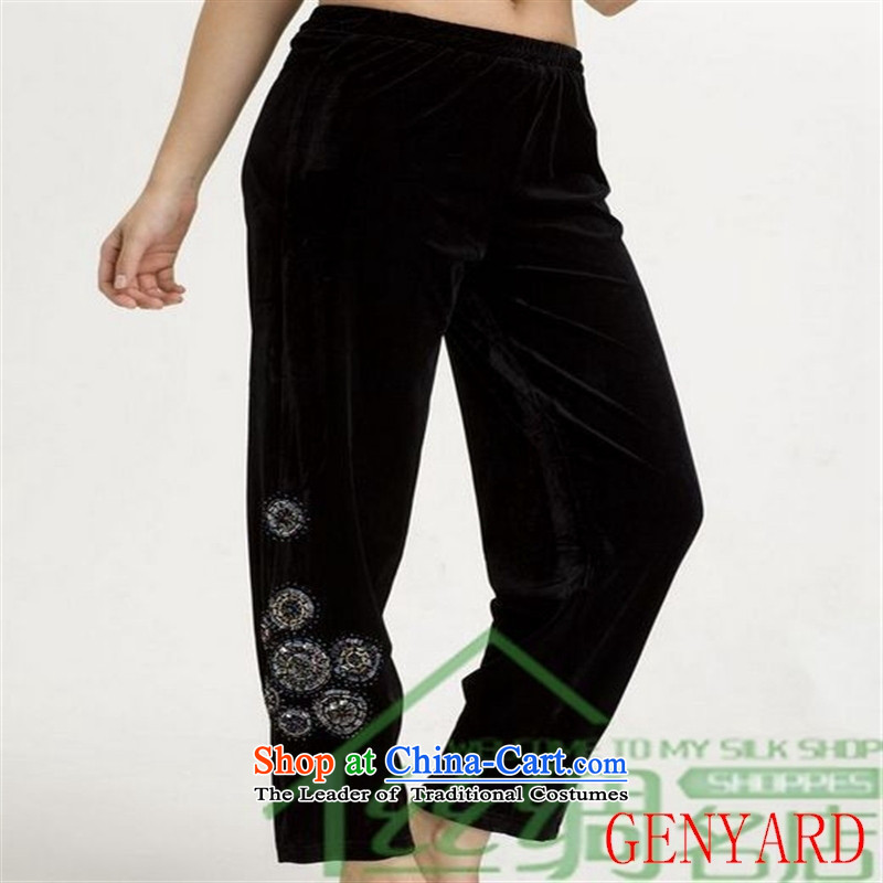 In older Kim velvet GENYARD trousers stylish mother load Sau San beaded trousers Black聽XL
