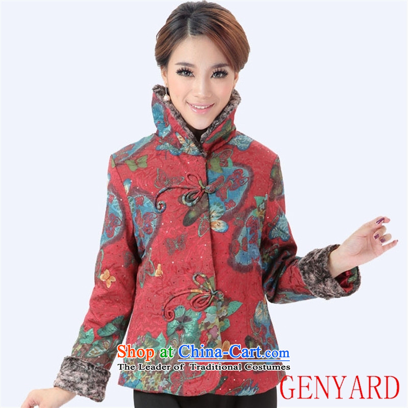 The elderly in the garment units GENYARD service pack autumn and winter mother stylish women's clothes, Ms. Tang dynasty rusty red燲XXL 棉衣