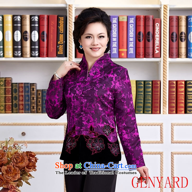 Tang Dynasty new GENYARD female spring and autumn China wind improved Han-embroidered dress shirt improved stylish long-sleeved燲XXXL Purple