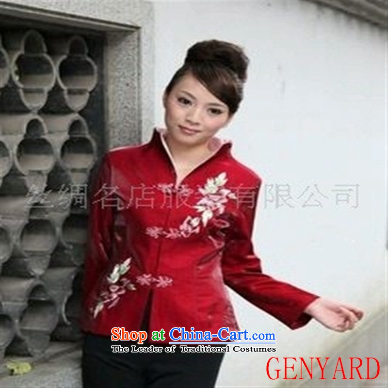 The elderly in the new paragraph GENYARD Chinese Manual Tray Tie with stylish Ms. Tang Tang-black embroidery聽XXXL