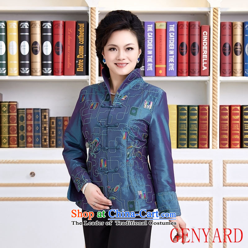 The elderly in new GENYARD spring and autumn replacing Tang dynasty women of ethnic Chinese China wind embroidered long-sleeved Ms. teahouse shirt red XL