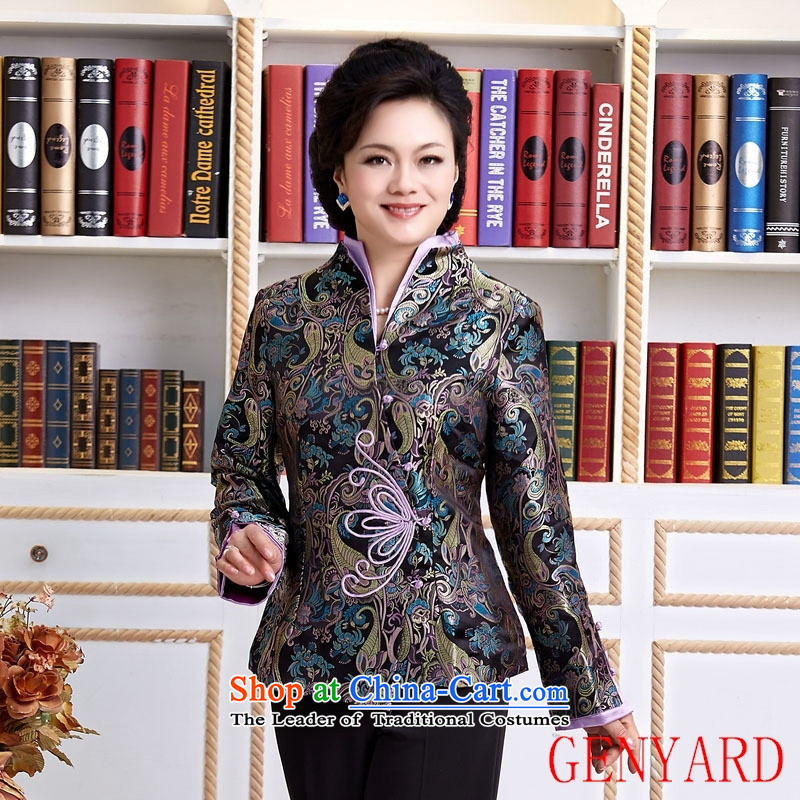 The elderly in accordance with tang GENYARD Yung-chun tang blouses jacket, black XXXL Tang