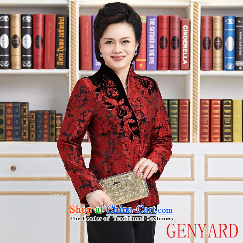 The elderly in the GENYARD embroidered short, long-sleeved T-shirt female autumn and winter Chinese collar Tang Jacket coat CARDIGAN�XXXL red