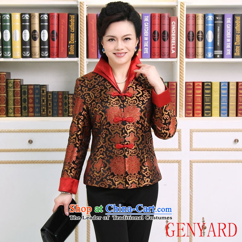 The elderly in accordance with tang GENYARD Yung-chun tang blouses jacket, black Tang XL