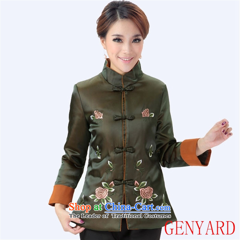 The elderly mother GENYARD winter Ms. Winter embroidery peony flowers long-sleeved jacket coat Tang dynasty 298 green聽M