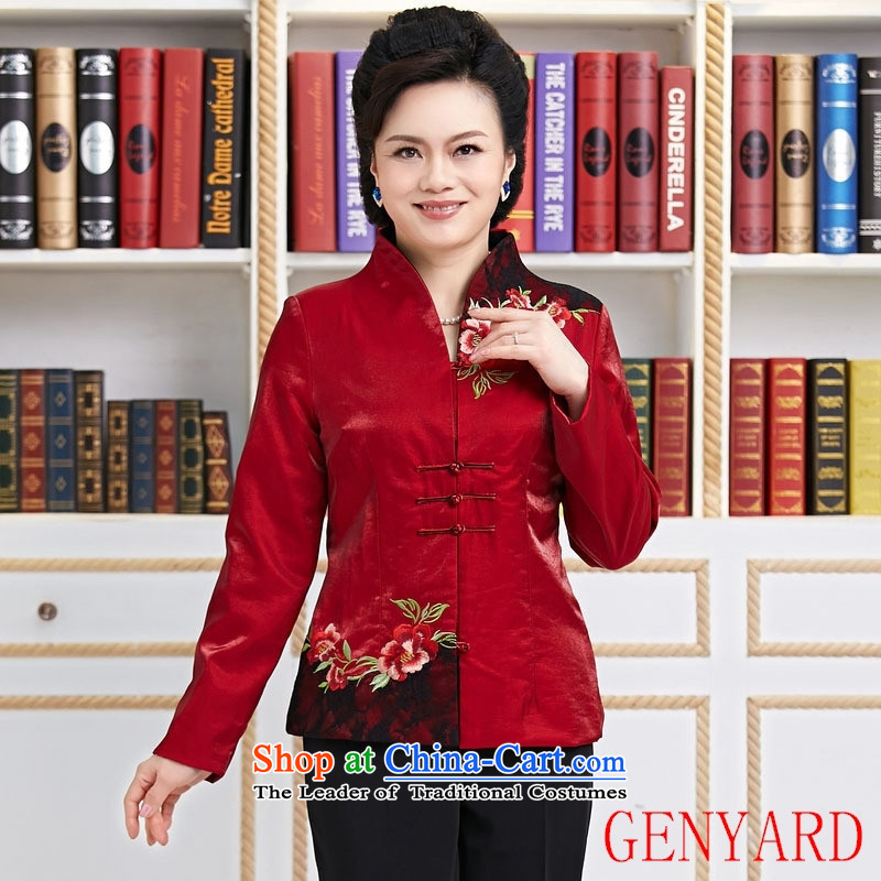 Ms. Tang dynasty GENYARD spring and autumn installed China wind long-sleeved blouses and stylish modern TANG Sau San Women's annual clothing red?XXL