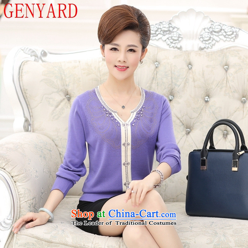 Load New GENYARD2015 autumn knitting sweater in forming the long-sleeved blouses and mother with older large relaxd woolen sweater light purple燲L_ recommendations 120-140 catties_