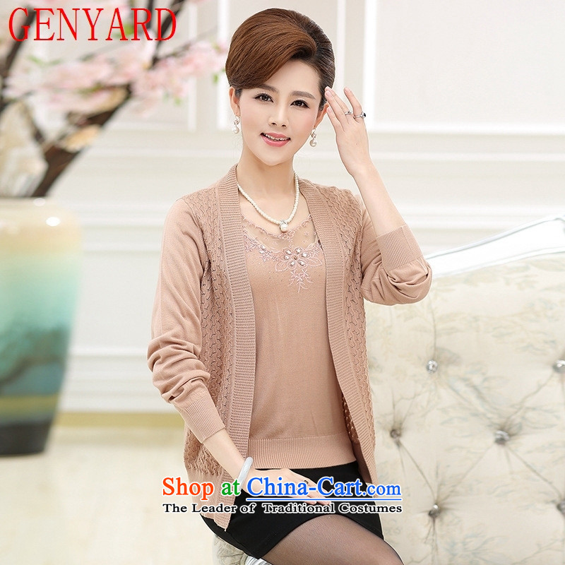 Load New GENYARD autumn mother boxed long-sleeved loose Knitted Shirt�40-50-year-old middle-aged women cardigan really two kits purple�M