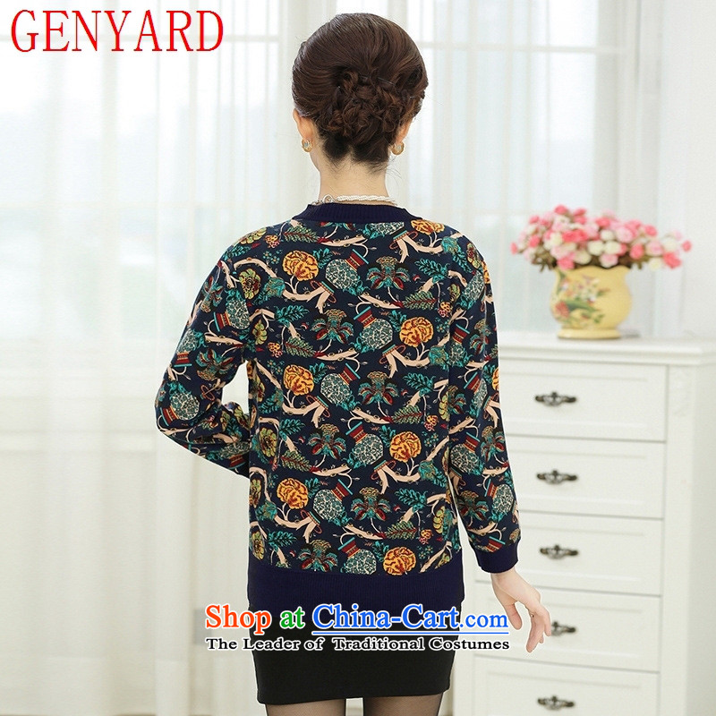The fall in the new GENYARD older really two kits Knitted Shirt girl aged 40-50 Cardigan large load sweater jacket of mother red聽L,GENYARD,,, shopping on the Internet