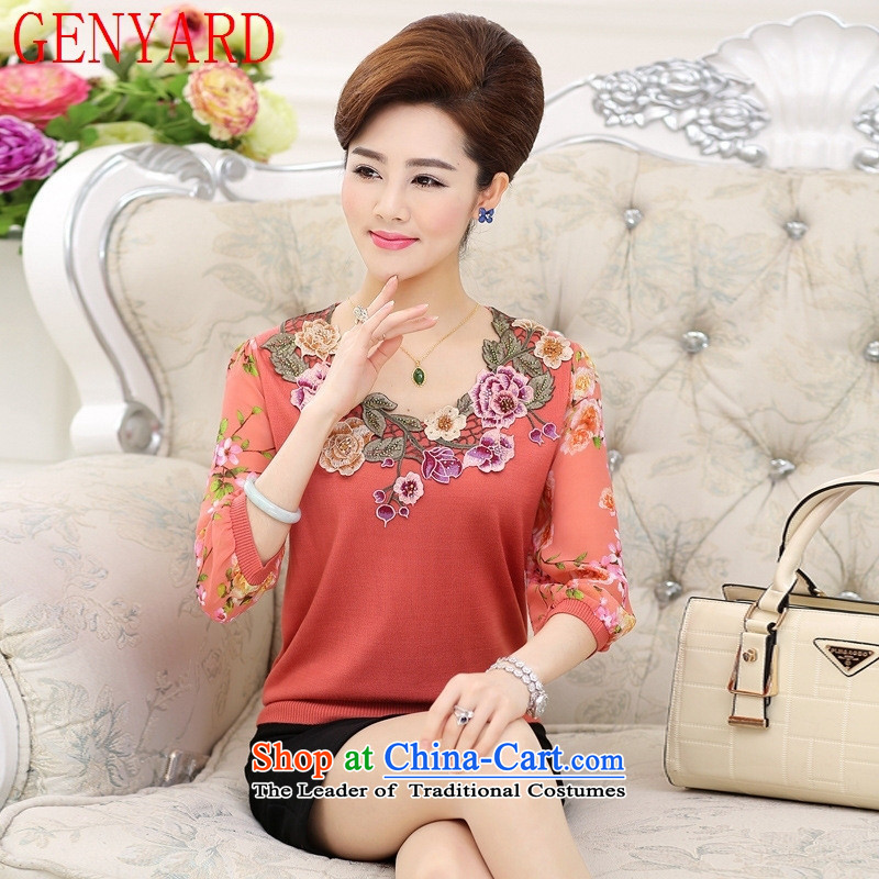 The new summer GENYARD older chiffon V style of knitted shirt-sleeves T-shirts middle-aged women and seven sub-sleeved shirt orange?XL( recommendations 115-130 catties)