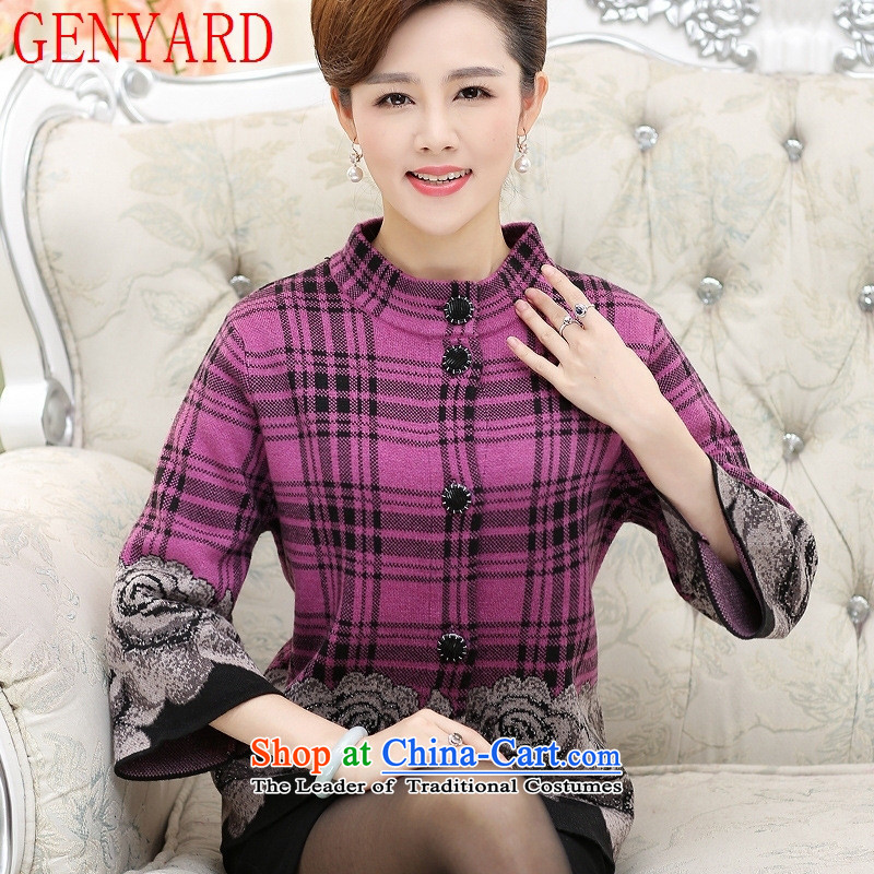 In the number of older women's GENYARD jacket with larger mother autumn load of 7-year-old middle-aged 40-50 stylish cuff knitwear cardigan better purple聽M