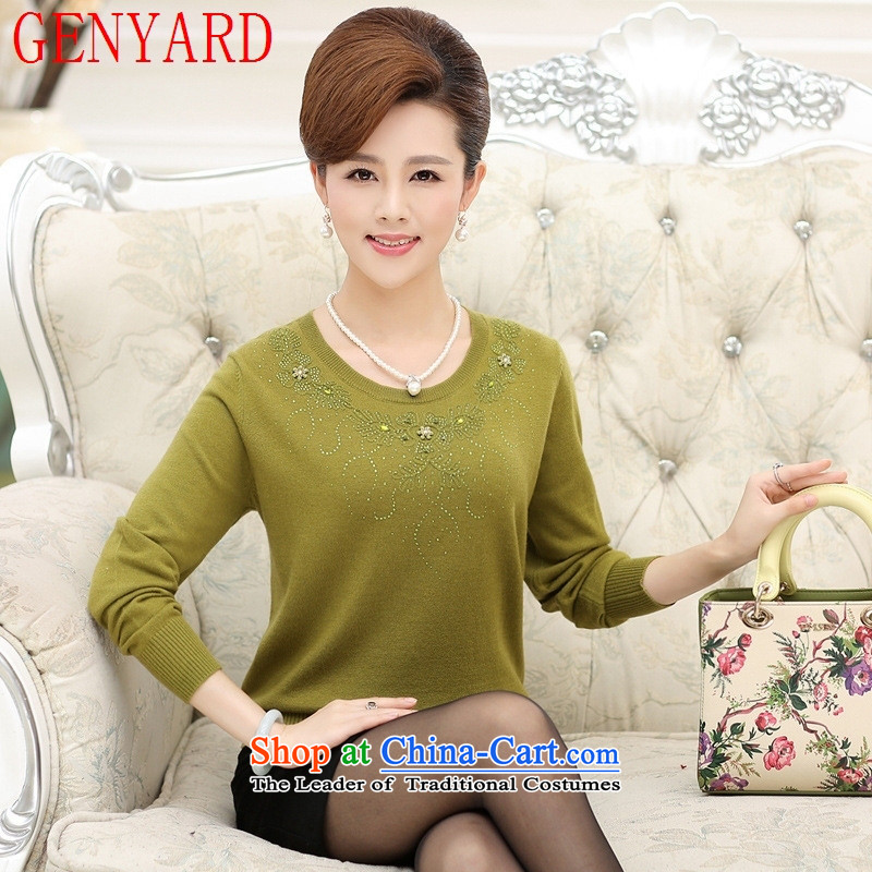 Replace Replace the autumn GENYARD2015 mother new products in older women's stylish long-sleeved T-shirt relaxd Knitted Shirt, forming the wool sweater pickled green�L_ paras. 135-145_ the burden of recommendations