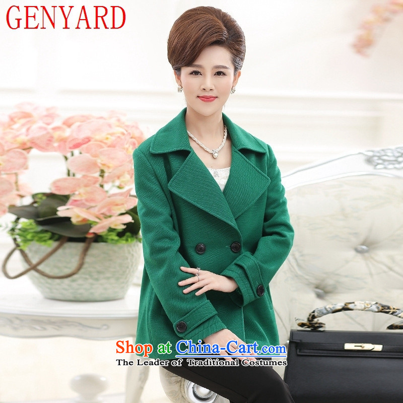 The elderly in the mother load GENYARD autumn and winter new product codes 40-50-year-old cardigan middle-aged women reverse collar double-coats of red?XL