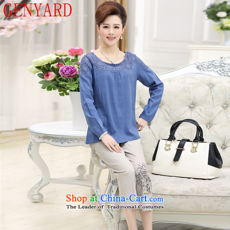 Load mother GENYARD40-50 cotton linen package autumn middle-aged people's congress code T-shirts. Older Women's grandmother with two-piece kit Yellow燲L爐hick_