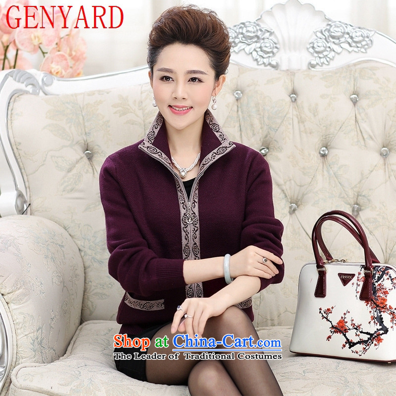 New Spring and Autumn GENYARD_ women's older thick sweater jacket zipper cardigan middle-aged mother with fleece rubber red燲L