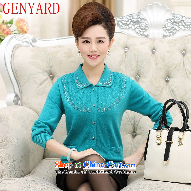 Load New GENYARD autumn MOM pack knitting cardigan 40-50-year-old elderly women fall Fleece Jacket blue-green?XL_ relaxd recommendations 120-135 catties_
