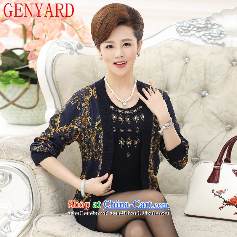 The fall of new, GENYARD2015 elderly really two kits Knitted Shirt LADIES CARDIGAN larger mother woolen sweater blue jacket燲L_ recommendations 120-135 catties_