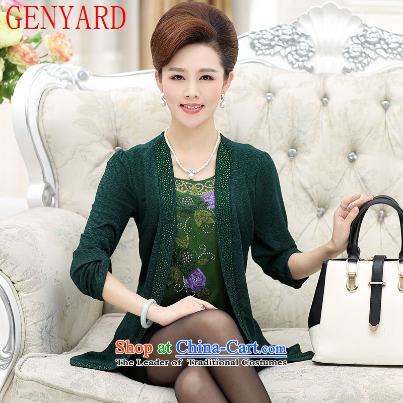 In the number of older women's GENYARD fall inside the new mother, long-sleeved T-shirt T-shirt 40-50-year-old middle-aged people who leave two Knitted Shirt with dark green�L