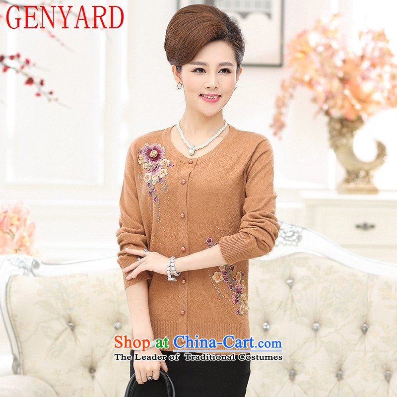 In the number of older women's GENYARD autumn and winter load new knitwear cardigan older persons a light jacket with long-sleeved sweater girl mothers dark red�5-135 XL catty