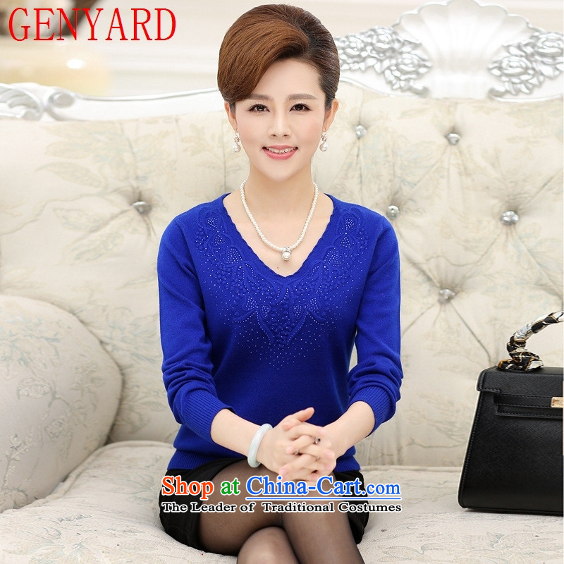 The elderly in the mother load GENYARD autumn knitted shirts middle-aged female boxed long-sleeved sweater round-neck collar larger T-shirt rubber coated red�L 100-125 catty