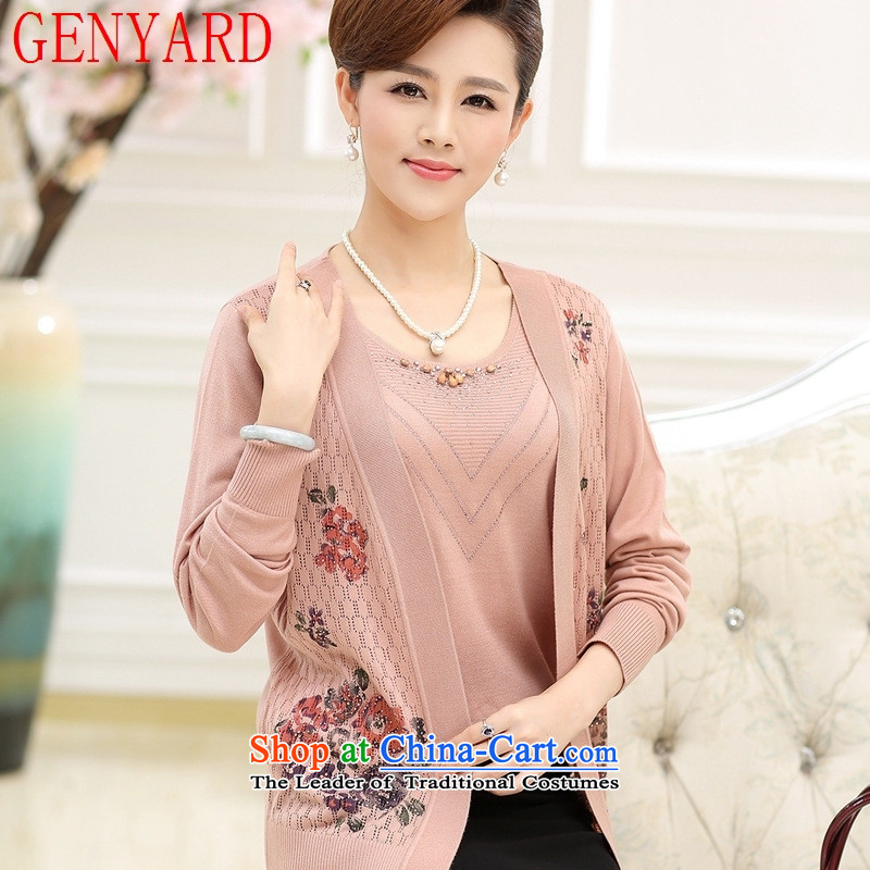 New moms load GENYARD 40-50 year really two kits for larger case load of autumn load older mother long-sleeved Knitted Shirt leather red聽M,GENYARD,,, shopping on the Internet
