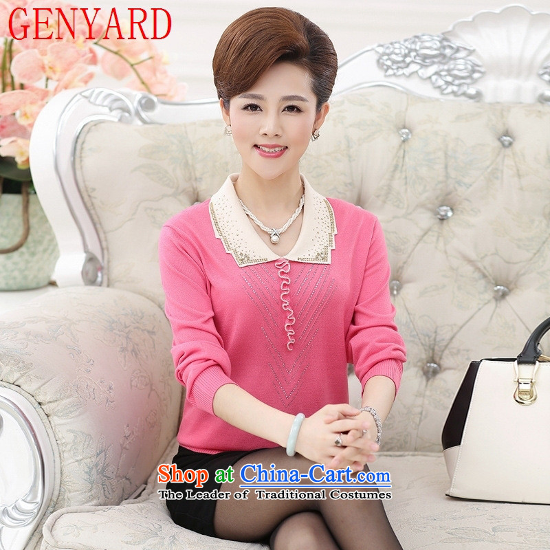 Long-sleeved blouses and middle-aged GENYARD2015 knitted shirts sweater autumn aware of the elderly in the mother with solid shirt woolen sweater pink?2XL_ recommendations 135-150 female catty_