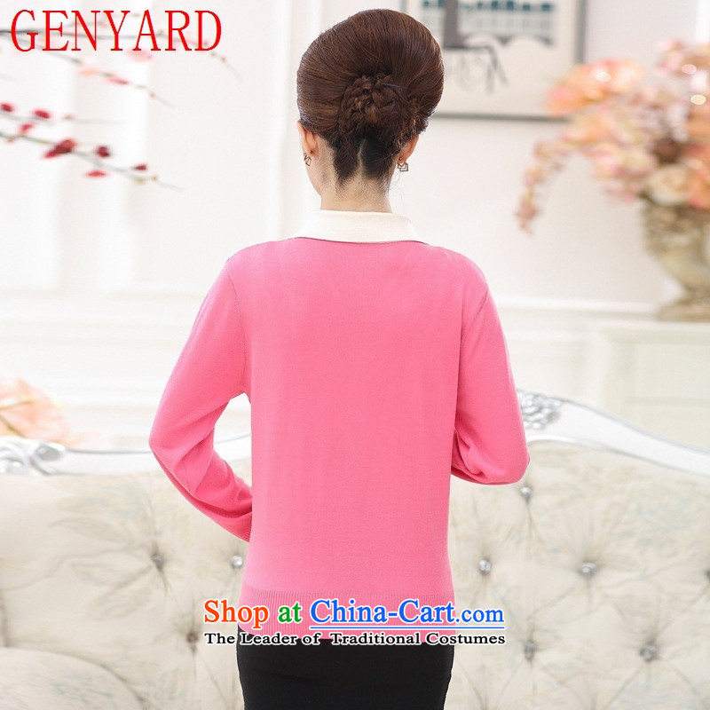 Long-sleeved blouses and middle-aged GENYARD2015 knitted shirts sweater autumn aware of the elderly in the mother with solid shirt woolen sweater pink聽2XL( recommendations 135-150 female catty ),GENYARD,,, shopping on the Internet