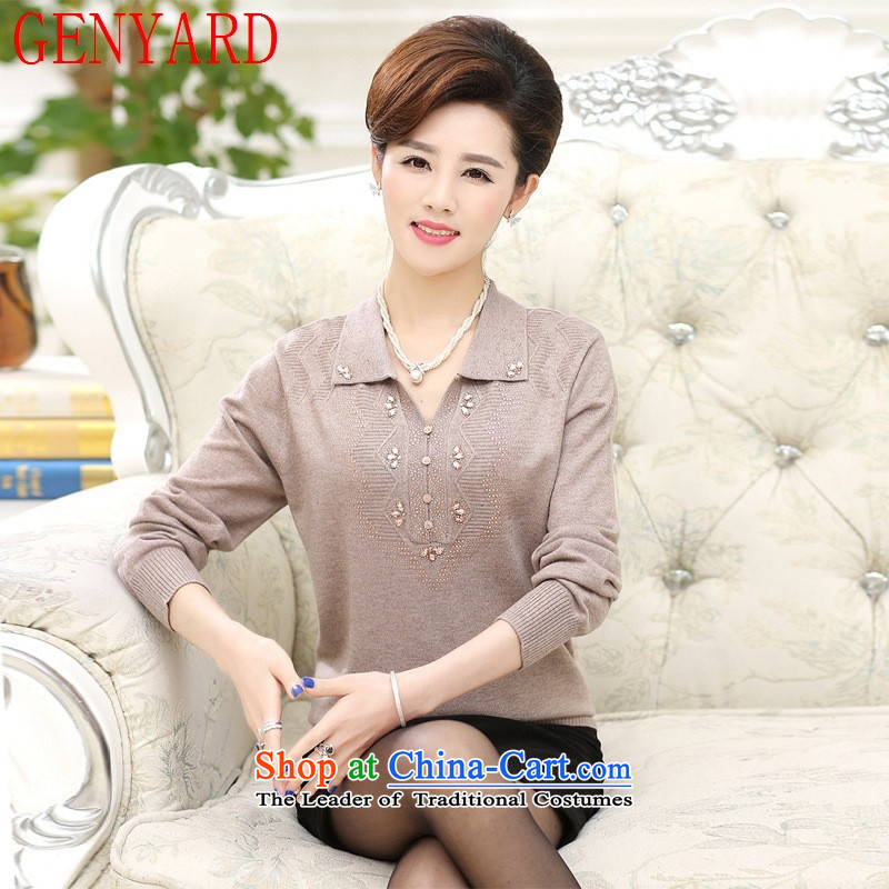 In the number of older women's GENYARD autumn long-sleeved T-shirt 40-50-year-old mother with spring and autumn load thick large roll collar woolen knitted shirts pink�3XL 145-165 catty