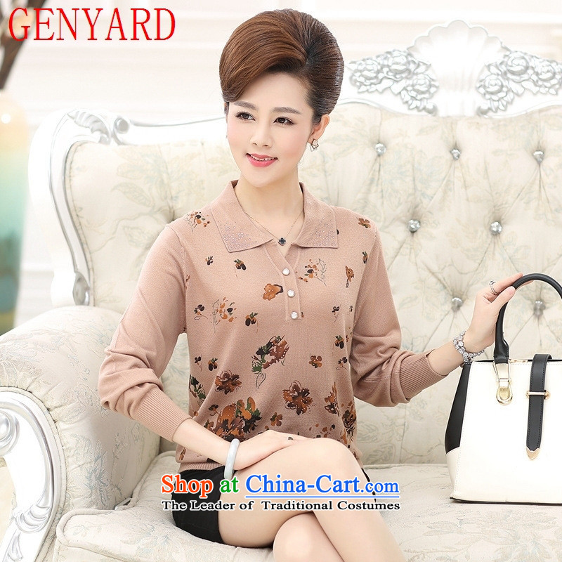 Install the latest Autumn GENYARD2015 middle-aged, reverse collar Knitted Shirt large middle-aged women with long-sleeved wool forming the moms clothes purple 2XL catty Paras. 135-145