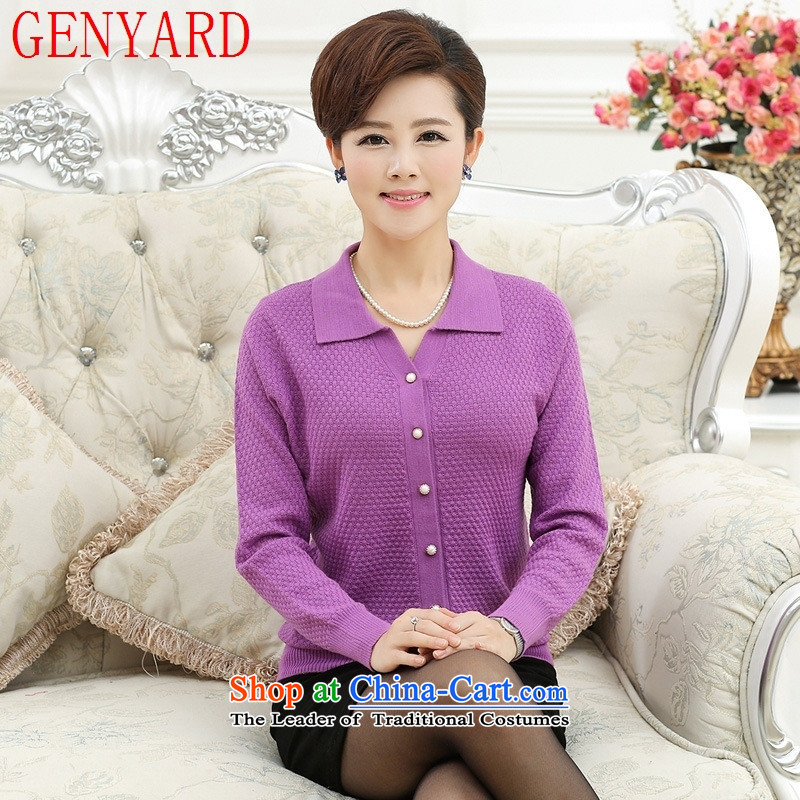 The elderly in the spring and autumn female GENYARD jackets 40-50-year-old middle-aged moms Knitted Shirt Cardigan lapel of long-sleeved T-shirt of purple�M within one hundred catties