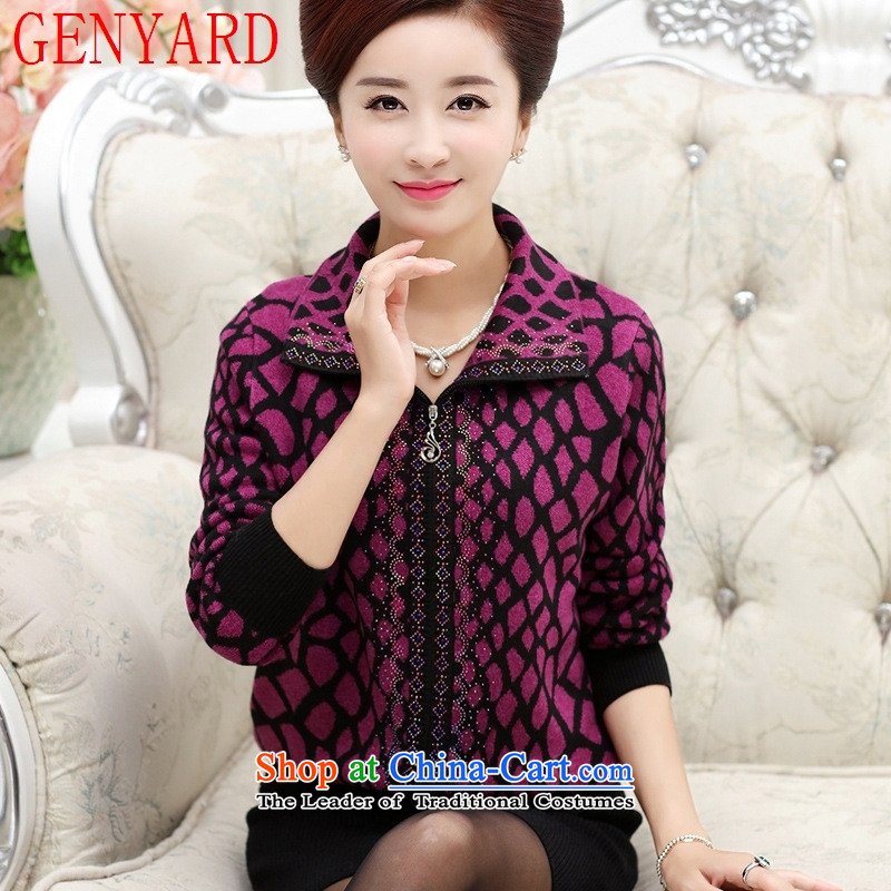Genyard autumn and winter in the new Elderly Women Fleece Jacket Mother of older persons with LADIES CARDIGAN cashmere sweater large red replace grandma?XL