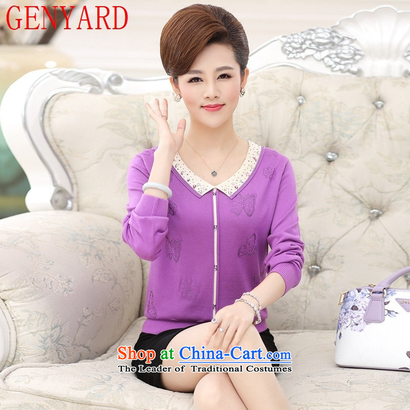 In the number of older women's GENYARD autumn replacing woolen sweater large middle-aged mother with long-sleeved T-shirt women Knitted Shirt of older persons in the Purple?L recommendations 90-120 catties_