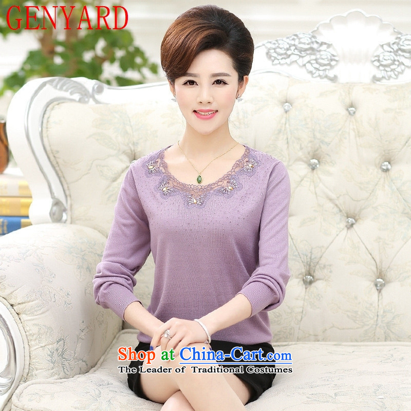 In the number of older women's GENYARD2015 boxed long-sleeved shirt, forming the autumn Knitted Shirt Solid Color thick middle-aged moms with flip Neck Sweater purple燲L_ recommendations 115-130 catties_