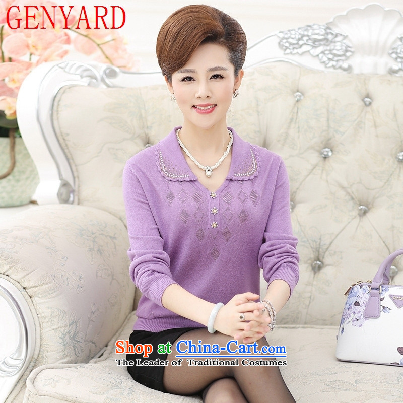 In the number of older women's GENYARD sweater middle-aged people with autumn knitted moms long-sleeved shirt lapel T-shirts for larger T-shirt female purple聽XL_ recommendations 120-135 catty_
