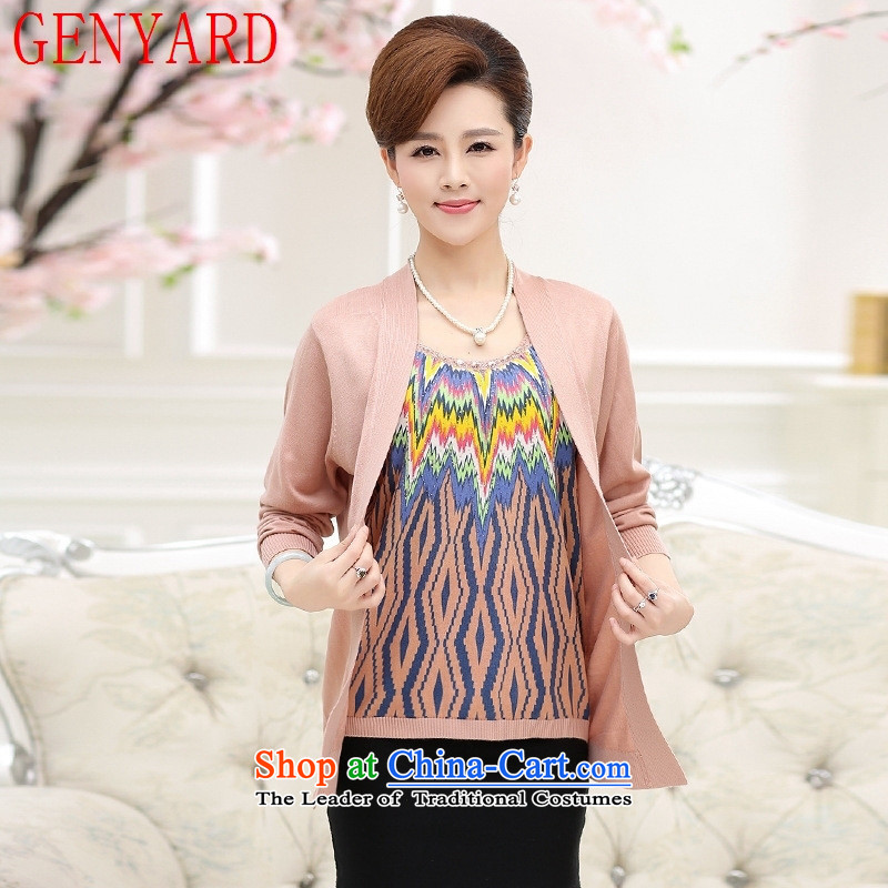 In the number of older women's GENYARD long-sleeved shirt with the autumn large mother false two kits 40-50-year-old knitted shirt and light jacket color M
