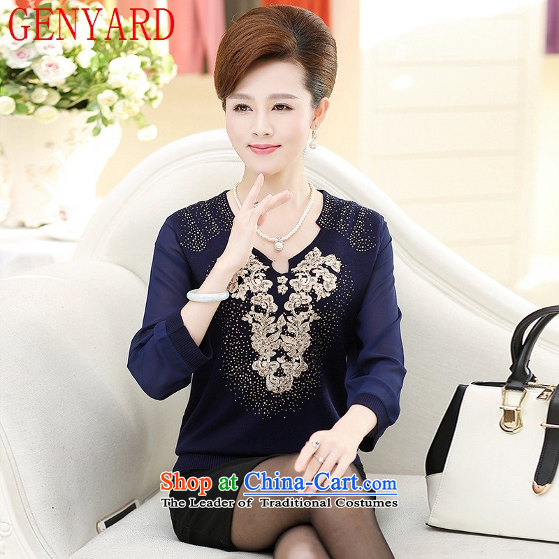 In the number of older women's GENYARD autumn Knitted Shirt long-sleeved T-shirt with a stylish new moms middle-aged 40-50 years old on the fleece cyan�L爎ecommendations 145-165 catty
