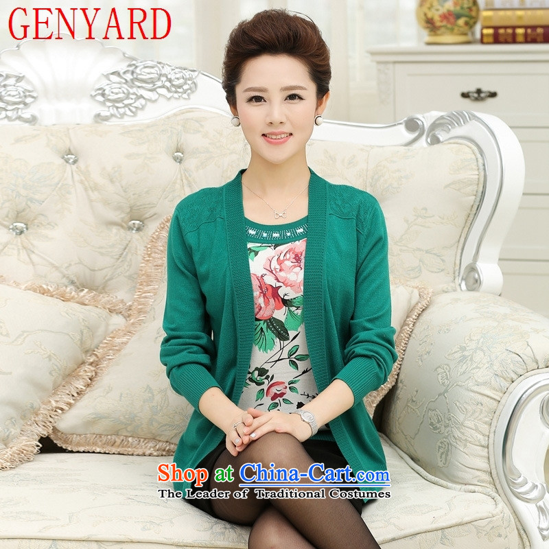 New products in the autumn GENYARD older fall inside the mother with summer stamp leave two long-sleeved T-shirt with round collar of Knitted Shirt purple L recommendations 90-120 catties_
