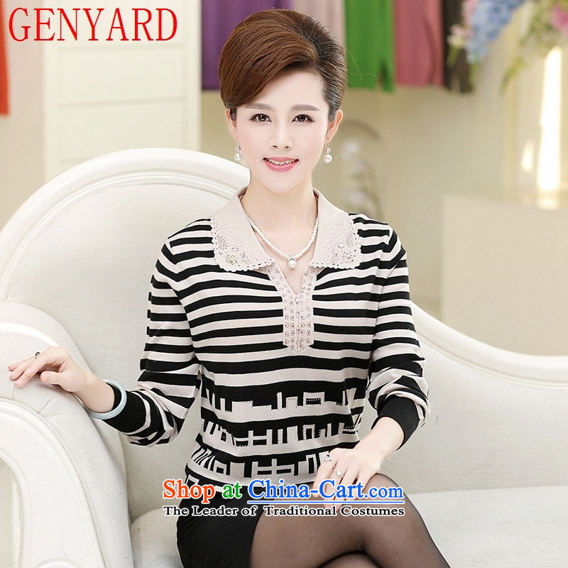 Knitted shirts GENYARD mother aged 40-50 Woolen Sweater Knit autumn replacing large middle-aged lapel pin wear shirts streaks wine red?L