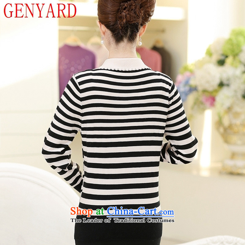 Knitted shirts GENYARD mother aged 40-50 Woolen Sweater Knit autumn replacing large middle-aged lapel pin wear shirts streaks wine red聽L,GENYARD,,, shopping on the Internet