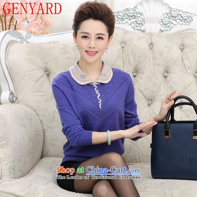 In the number of older women's GENYARD autumn knitted shirts T-shirt lapel thick mother replacing XL 40-50-year-old middle-aged women?3XL red T-Shirt