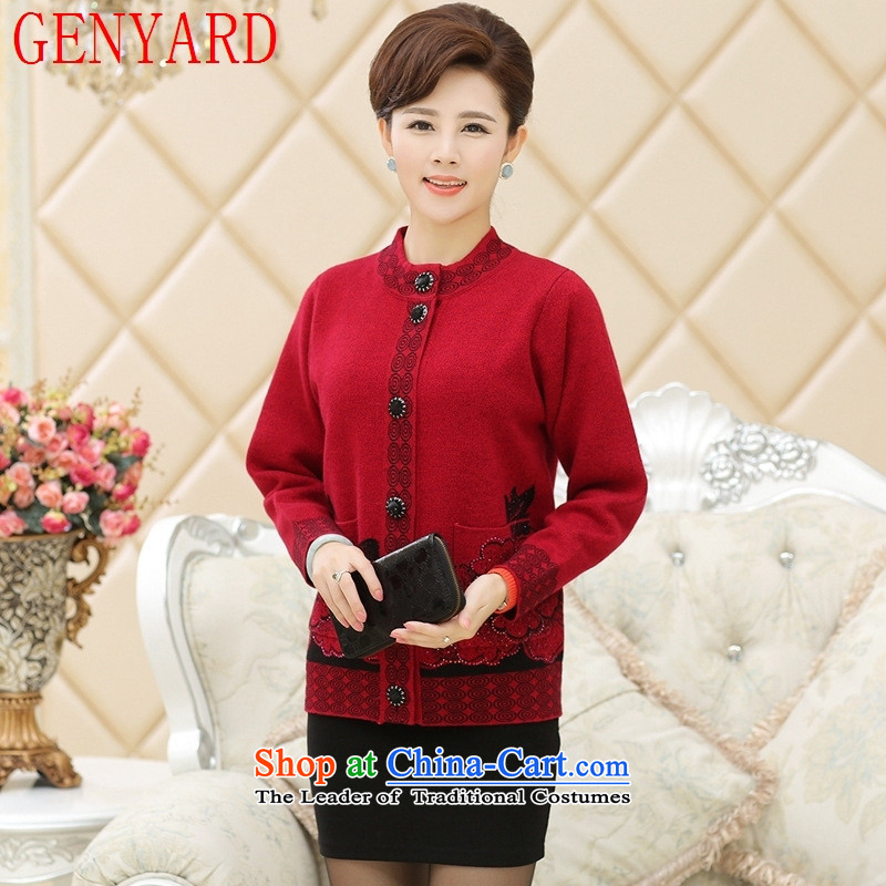 The elderly in the new GENYARD2015 women Fall_Winter Collections thick knitted cardigans middle-aged moms large load wool CARDIGAN聽XL_115_ Brown