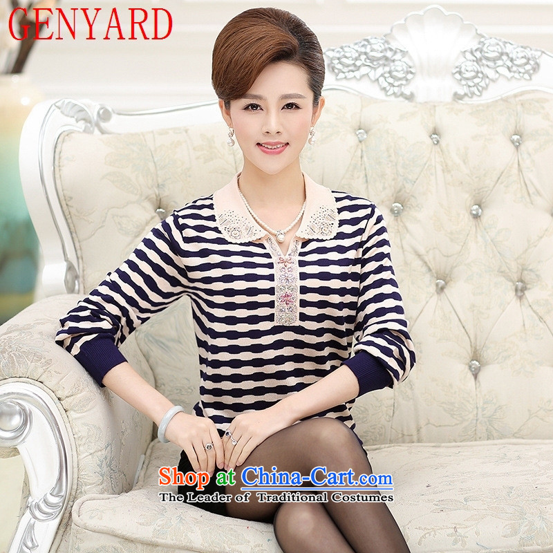 New Spring and Autumn GENYARD2015 replacing older women wear long-sleeved in woolen sweater middle-aged moms knitted sweaters blue stripes 2XL