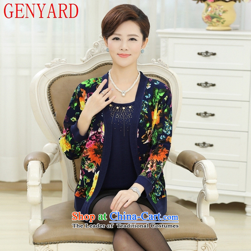 New Spring and Autumn GENYARD_ women's older light jacket large middle-aged moms replacing older age leave two black?3XL knitwear catty Paras. 135-145