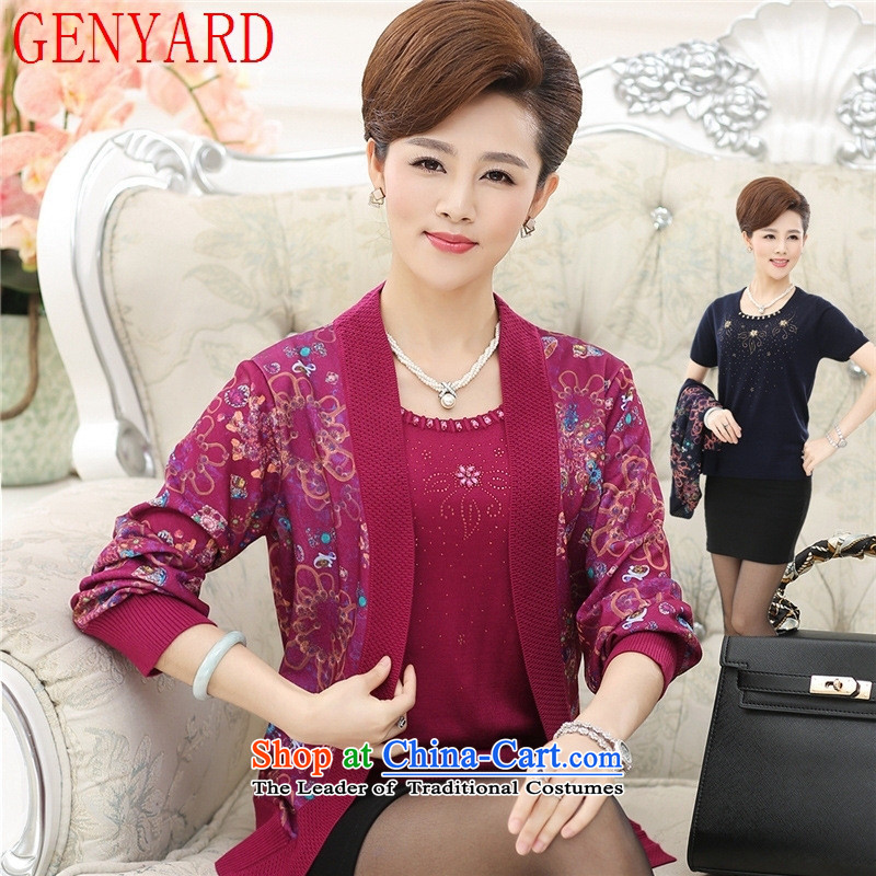 Replace the autumn GENYARD mother jackets cardigan 40-50-year-old elderly lady knitted really two kits large middle-aged shirt color navy XL( recommendations 120-135 catties)