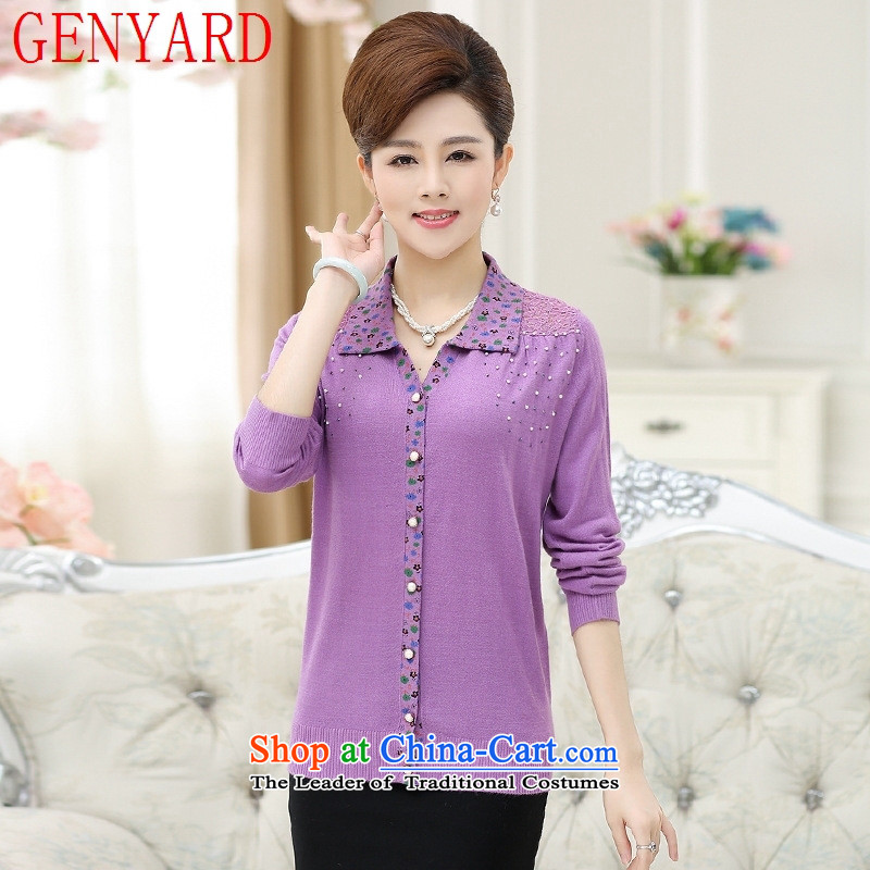Replace the fall of middle-aged female GENYARD knitted shirts 40-50-year-old middle-aged moms replacing autumn saika lapel T shirt shirt female purple XL( recommendations 115-130 catty)