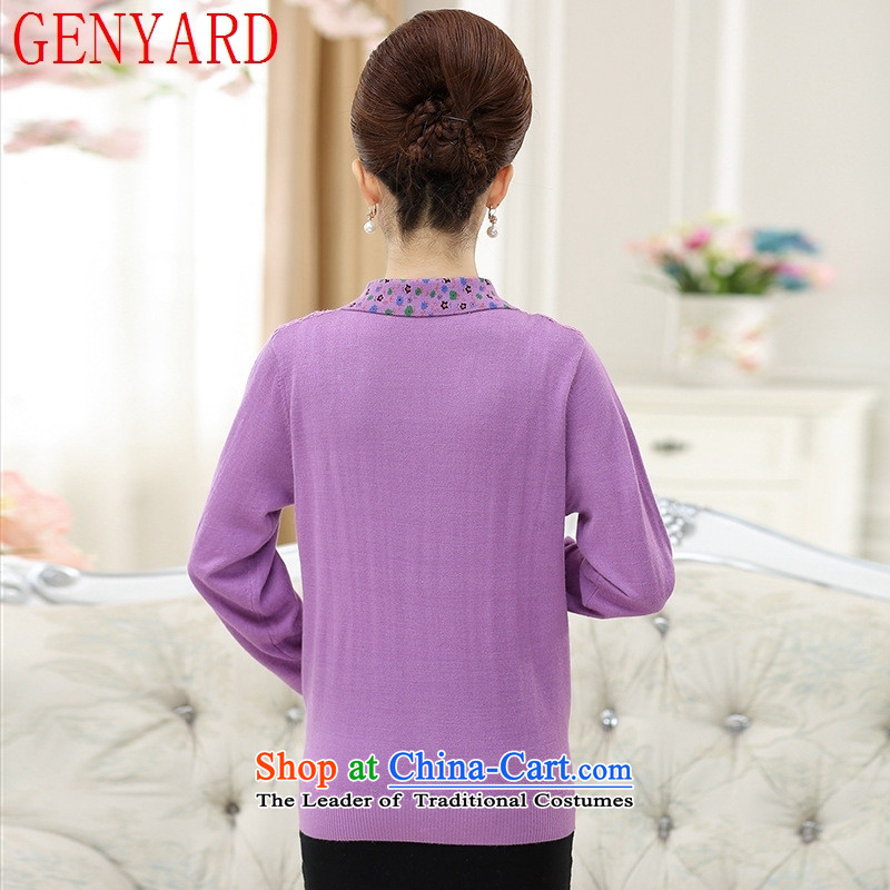 Replace the fall of middle-aged female GENYARD knitted shirts 40-50-year-old middle-aged moms replacing autumn saika lapel T shirt shirt female purple XL( recommendations 115-130 catty ),GENYARD,,, shopping on the Internet