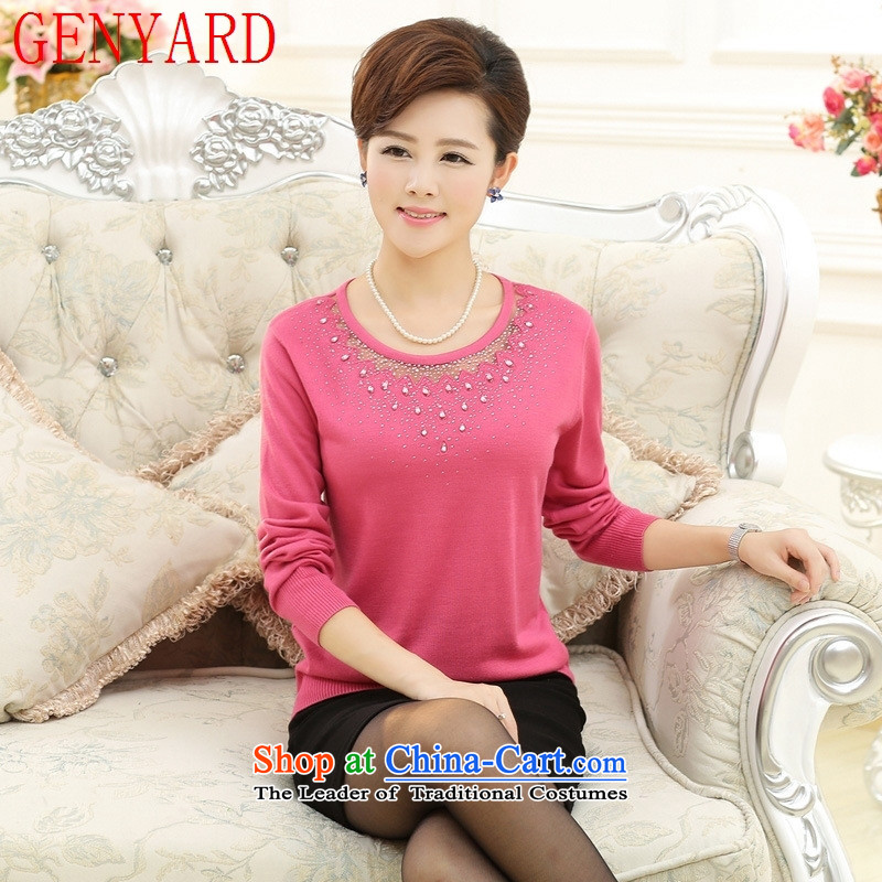 In the number of older women's GENYARD fall inside the new mother knitted T-shirt with round collar 40-50-year-old middle-aged ladies large long-sleeved T-shirt purple?2XL catty Paras. 135-145