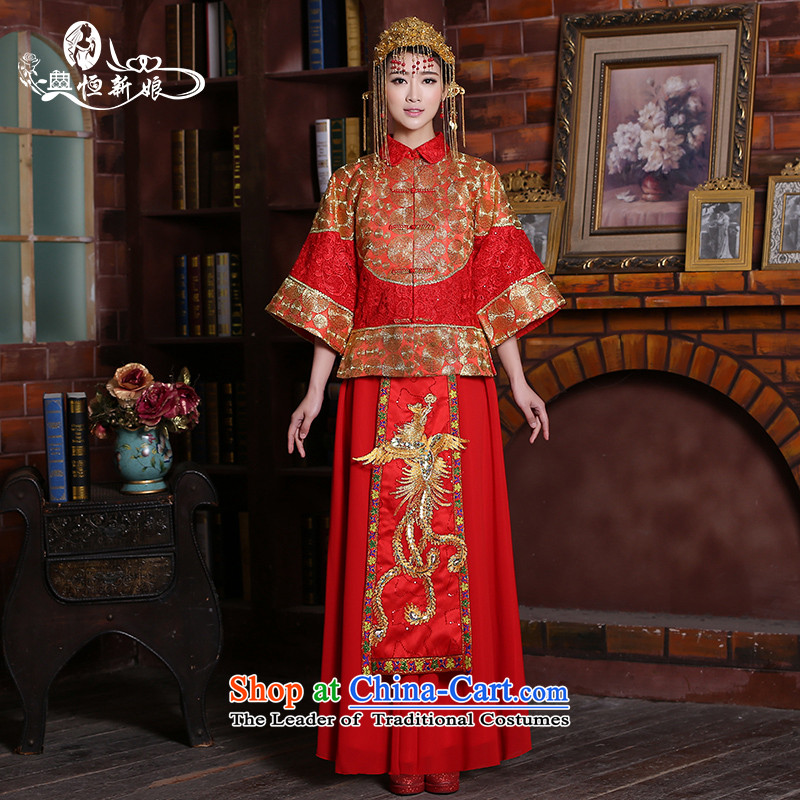 Noritsune bride 2015 damask National Traditional Chinese Soo Wo serving two kits Loose Cuff 7 female red wedding dress Qipao _fine-embroidered red as soon as the M