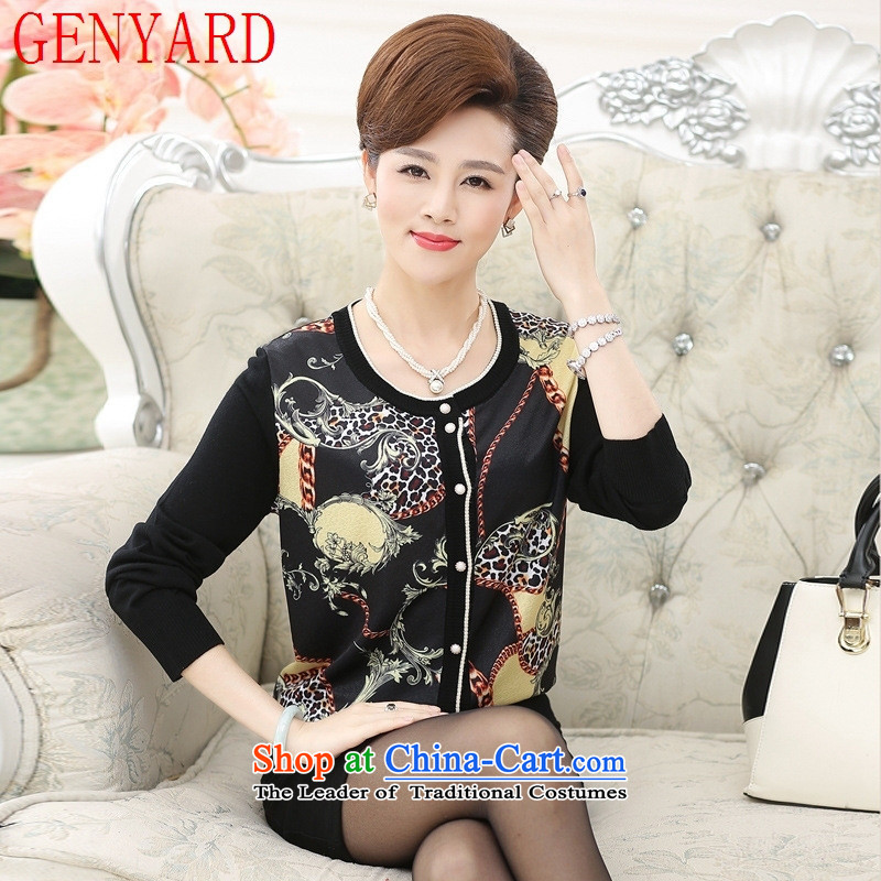 Elegant and stylish with mother GENYARD fall inside the new knitting cardigan middle-aged women in large jacket leisure older women's navy?3XL( recommendations 150-165��catties)